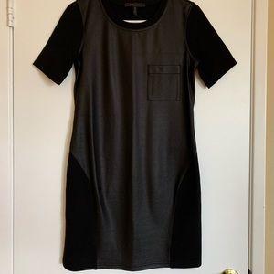 Black BCBG faux leather combination mini dress